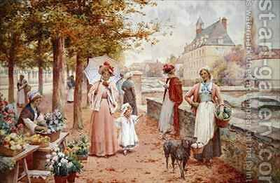 The Flower Seller by Alfred I Glendening - Reproduction Oil Painting