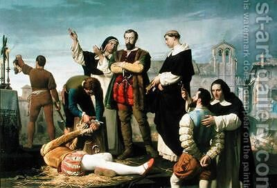 The Comuneros Juan de Padilla 1490-1521 Juan Bravo and Francisco Maldonado at the Scaffold by Antonio Gisbert - Reproduction Oil Painting