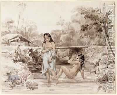 Tahitians Bathing by Charles Giraud - Reproduction Oil Painting