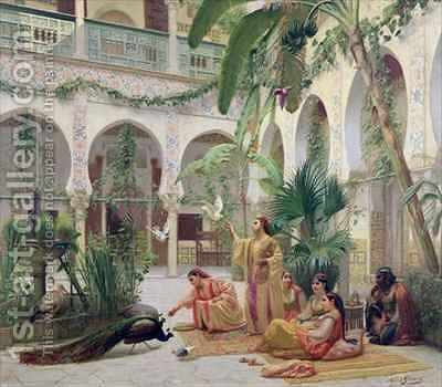 The Court of the Harem by Albert Girard - Reproduction Oil Painting