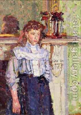 Girl by a Mantelpiece by Harold Gilman - Reproduction Oil Painting
