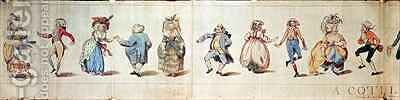 A Cotillion half of a satirical cartoon by James Gillray - Reproduction Oil Painting