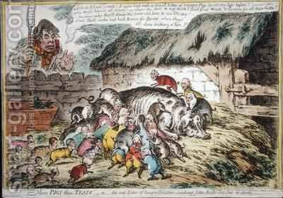 More Pigs than Teats by James Gillray - Reproduction Oil Painting