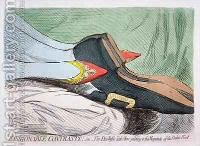 Fashionable Contrasts or The Duchesss little Shoe yielding to the Magnitude of the Dukes Foot by James Gillray - Reproduction Oil Painting