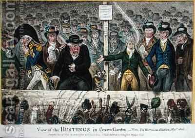 View of the Hustings in Covent Garden by James Gillray - Reproduction Oil Painting