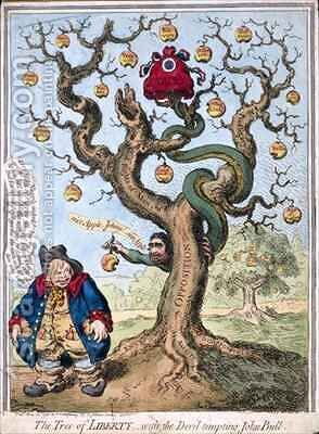 The Tree of Liberty with the Devil Tempting John Bull by James Gillray - Reproduction Oil Painting