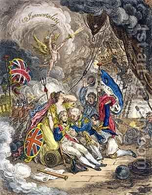 The Death of Admiral Lord Nelson at the Moment of Victory by James Gillray - Reproduction Oil Painting