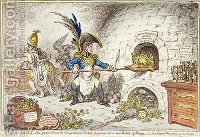 Tiddy Doll the Great French Gingerbread Maker Drawing Out a New Batch of Kings His Man Hopping Talley Mixing Up the Dough by James Gillray - Reproduction Oil Painting