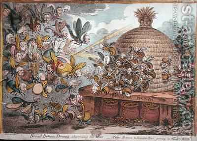Broad Bottom Drones storming the Hive Wasps Hornets and Bumble Bees joining in the Attack by James Gillray - Reproduction Oil Painting