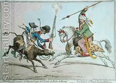 Tirailleur Francais et Chevau Leger de lArmee du Pacha de Rhodes or The Evolutions of French Mounted Riflemen by James Gillray - Reproduction Oil Painting