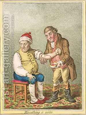 Breathing a Vein by James Gillray - Reproduction Oil Painting