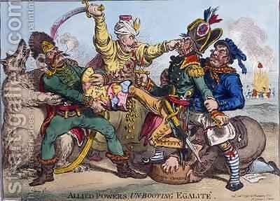 Allied Powers Un Booting Egalite by James Gillray - Reproduction Oil Painting