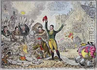 True Reform of Parliament ie Patriots lighting a Revolutionary Bonfire in New Palace Yard by James Gillray - Reproduction Oil Painting