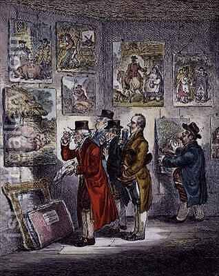 Connoisseurs Examining a Collection of George Morlands Paintings by James Gillray - Reproduction Oil Painting
