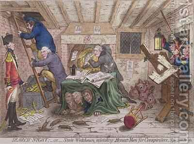 Search Night or The State Watchmen Mistaking Honest men for Conspirators by James Gillray - Reproduction Oil Painting