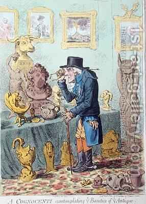 A Cognocenti Contemplating Ye Beauties of Ye Antique 2 by James Gillray - Reproduction Oil Painting