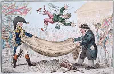 The high flying Candidate ie Little Paul Goose mounting from a Blanket by James Gillray - Reproduction Oil Painting