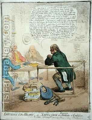 Effusions of the Heart or Lying Jack the Blacksmith at Confession 2 by James Gillray - Reproduction Oil Painting