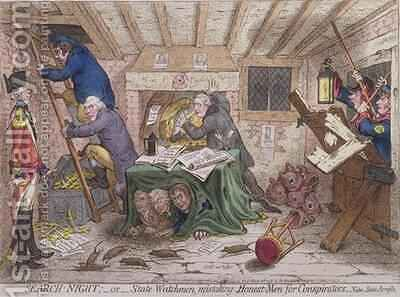 Search Night or The State Watchmen Mistaking Honest men for Conspirators 2 by James Gillray - Reproduction Oil Painting