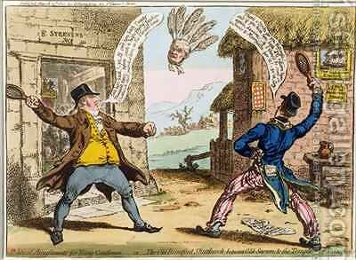 Political Amusements for Young Gentlemen or The Old Brentford Shuttlecock between Old Sarum and the Temple of St Steevens 2 by James Gillray - Reproduction Oil Painting