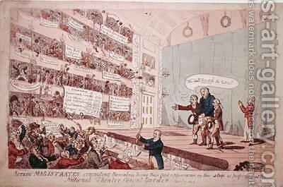 Acting Magistrates committing themselves being their first appearance as performed at the National Theatre Covent Garden 2 by James Gillray - Reproduction Oil Painting