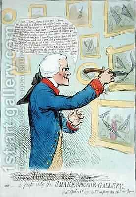 A Peep into the Shakespeare Gallery 2 by James Gillray - Reproduction Oil Painting