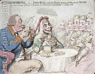 Anti Saccharites or John Bull and his Family leaving off the use of Sugar 2 by James Gillray - Reproduction Oil Painting