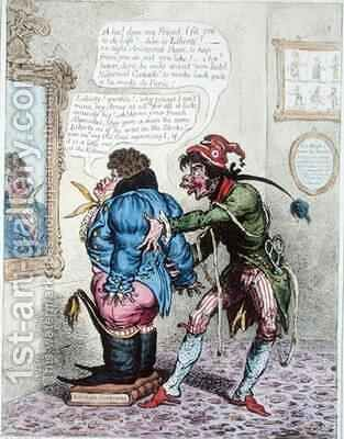 French Taylor fitting John Bull with a Jean de Bry 2 by James Gillray - Reproduction Oil Painting