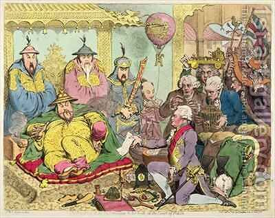 Reception of the Diplomatique and his Suite at the Court of Pekin by James Gillray - Reproduction Oil Painting