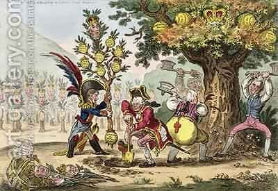 The New Dynasty or The Little Corsican Gardiner planting a Royal Pippin Tree by James Gillray - Reproduction Oil Painting