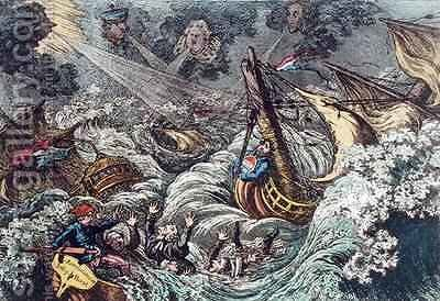 End of the Irish Invasion or The Destruction of the French Armada by James Gillray - Reproduction Oil Painting