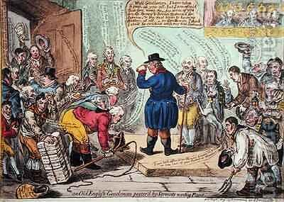 An Old English Gentleman Pesterd by Servants Wanting Places by James Gillray - Reproduction Oil Painting