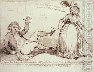A Second Jean dArc c 1412-31 or The Assassination of Marat 1743-93 by James Gillray - Reproduction Oil Painting