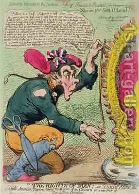 The Rights of Man or Tommy Paine the little American Taylor taking the Measure of the Crown for a new Pair of Revolution Breeches by James Gillray - Reproduction Oil Painting