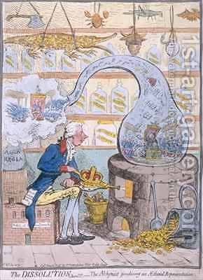 The Dissolution or the Alchymist producing an Aetherial Representation by James Gillray - Reproduction Oil Painting
