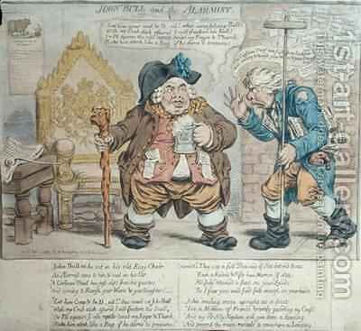 John Bull and the Alarmist by James Gillray - Reproduction Oil Painting