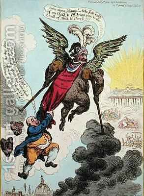 Le Diable Boiteux or The Devil upon Two Sticks Conveying John Bull to the Land of Promise by James Gillray - Reproduction Oil Painting