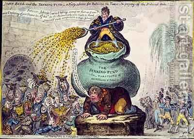 John Bull and the Sinking Fund or A Pretty Scheme for Reducing Taxes and Paying off the National Debt by James Gillray - Reproduction Oil Painting