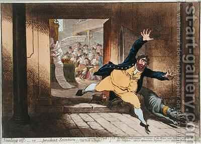 Stealing Off or Prudent Secesion by James Gillray - Reproduction Oil Painting