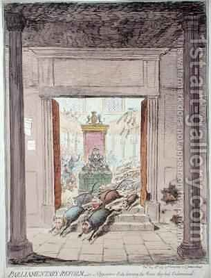 Parliamentary Reform or Opposition Rats leaving the House they had Undermined by James Gillray - Reproduction Oil Painting