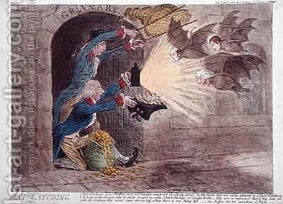 Bat Catching by James Gillray - Reproduction Oil Painting