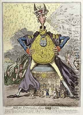 Midas Transmuting all into Gold Paper by James Gillray - Reproduction Oil Painting