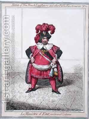 Le Ministre dEtat en grand costume from the series Habits of the New French Legislators and other Public Functionaries by James Gillray - Reproduction Oil Painting
