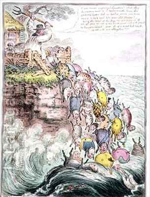 The Pigs Possessed or the Broad bottomed Litter running headlong into the Sea of Perdition by James Gillray - Reproduction Oil Painting