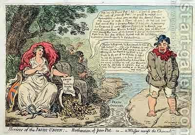 Horrors of the Irish Union Botheration of Poor Pat or A Whisper across the Channel by James Gillray - Reproduction Oil Painting