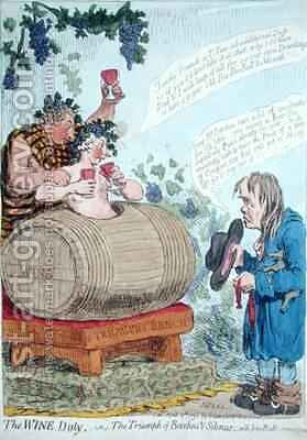 The Wine Duty or The Triumph of Bacchus and Silenus with John Bulls Remonstrance by James Gillray - Reproduction Oil Painting