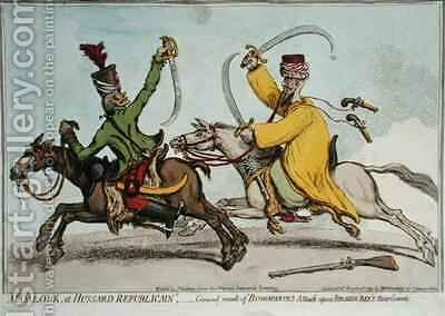 Mamlouk et Hussard Republicain or General Result of Bonapartes Attack upon Ibrahim Beys 1735-1817 Rear Guard by James Gillray - Reproduction Oil Painting