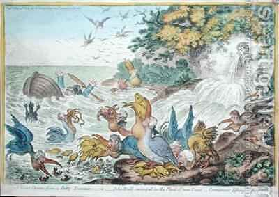 A Great Storm from a Petty Fountain or John Bull swamped in the Flood of New Taxes Cormorants Fishing in the Stream by James Gillray - Reproduction Oil Painting