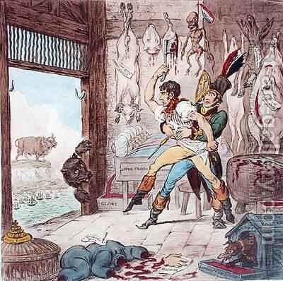 Napoleon Bonaparte 1796-1821 being restrained from butchering the bear of Russia by James Gillray - Reproduction Oil Painting