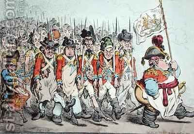 Supplementary Militia Turning out for Twenty Days Amusement or The French invade us hay damme whos afraid by James Gillray - Reproduction Oil Painting